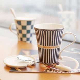 創意陶瓷杯子帶蓋勺歐式咖啡杯牛奶早餐茶杯