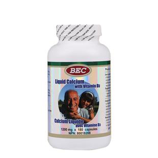加拿大BEC(BEC)液体钙维生素D3胶囊180粒